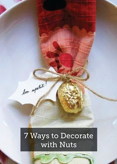 7 Ways to Decorate with Nuts – Check out all of these clever ways to use nuts as home decorations, including this awesome painted walnut place setting! Whole Nut, Craft Activities, Place Settings, Tis The Season, A Table, Clever, Diy Crafts, Decorations, Seasons