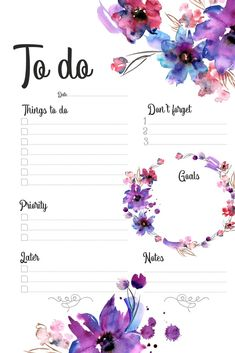 To do list with purple watercolor flowers Planner, purple, flowers, watercolor To Do Planner, Study Planner, Budget Planner, Planner Pages, Life Planner, Happy Planner, Weekly Planner Printable, Planner Template, Stationary Printable Free