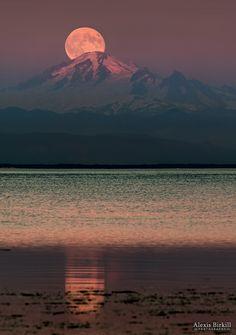 Moon over Mount Baker Tsawwassen, British Columbia, Canada| by Alexis Birkill