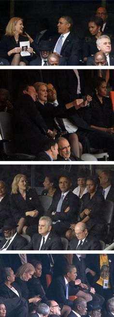 Did Michelle Obama Make President Obama Switch Seats Because Of Denmark PM Helle Thorning-Schmidt?  Michelle is not happy.  So - what's new?   LOL!  12/10/13.