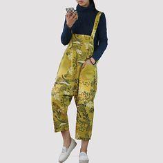 d45308ce658 Japanese Style Rompers Print Floral Cotton Jumpsuit Plus Size Loose  Suspenders Trousers Women Bib Pants Capri
