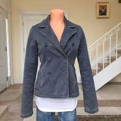 """A&F distressed blue blazer inspired coat Worn once, like new. Warm/cozy. Outter shell 100% cotton. Inner lining: acrylic/polyester. Faux fur lining inside coat. Puffer inside sleeves filled with 100% polyester. Machine wash. Button down/2 side pockets. 20' arm inseam (from armpit). 23' from back collar down. All fray, discoloring, and wear on coat is part of the design and are not flaws . No Trades/PayPal. Reasonable negotiations using the """"offer"""" button. Abercrombie & Fitch Jackets & Coats"""