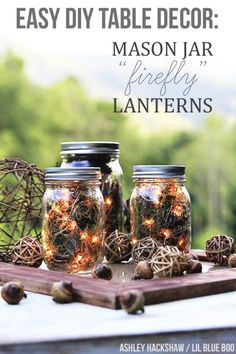 Fall Table Decor: Mason Jar Firefly Lanterns | Ashley Hackshaw / Lil Blue Boo
