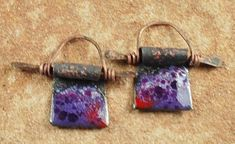 Enameled Copper Charms, Earring Beads,  Enamel Components, Rustic Purple #356 by CC Design