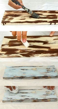 Create wood layers: depth. Step 1: Choose colors to layer; start w/ a piece of wood and the bottom color. (dark brown) Paint random spots on the wood. Let dry completely. Take an un-tinted candle and rub random spots (hard)on the wood. Step 2: Paint the wood with the color for the next layer. ( I used white here.) Let dry completely. Use a rag and wipe the surface with some pressure. The paint will come off where the wax was rubbed onto the wood.