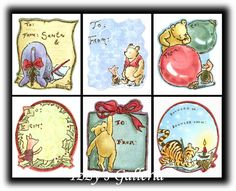 Vintage Classic Pooh Christmas Gift Tags To & From Stickers Lot Michel & Co