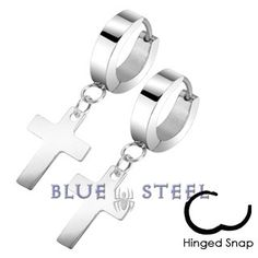 PIN IT TO WIN IT! Claddagh Cross:  Claddagh Cross are simple Latin cross designed earrings made from a reflective high quality stainless steel. They have a hinged hoop with a cross dangle shining brilliantly at the bottom of the ear ring. This unique Claddagh Cross is a symbol of happiness and the beginning of new life. $19.99  www.buybluesteel.com