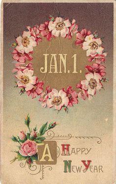 A Happy New Year Vintage Postcard Weihnachten Vintage Happy New Year, Happy New Year 2016, Happy New Year Images, Happy New Year Cards, New Year Wishes, New Year Greetings, Vintage Year, Happy New Year Sister, New Year Pics