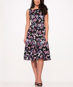 Another great find on #zulily! Black & Purple Floral Fit & Flare Dress - Plus Too #zulilyfinds