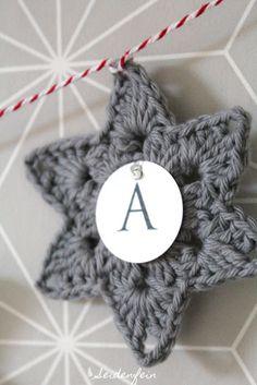 seidenfeins Blog vom schönen Landleben: 9. Merry X-Mas Sterngirlande ☆ ☆ ☆ ☆ Merry X-mas garland with crochet stars