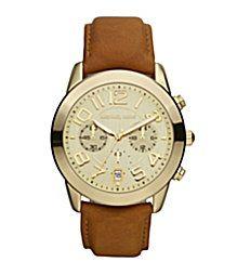 Dillards designer watches Michael Kors Luggage Leather watch  195 Michael  Kors Chronograph, Mercer Watch, 4261f27328