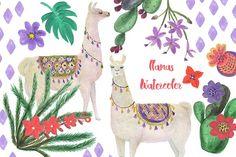 Watercolor llamas by ramika on @creativemarket