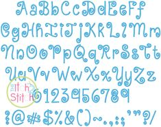 """KG Kiss Me Slowly Embroidery Font (formerly Swirly) in sizes 1"""", 1.5"""", 2"""", 2.5"""", 3"""" and 3.5""""; numbers and punctuation included"""