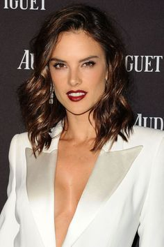 How to recreate this month's best celebrity beauty looks: Alessandra Ambrosio's shiny hair and dark lipstick