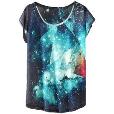 White Pretty Womens Crew Neck Galaxy Printed Short Sleeve T-shirt (33 BRL) ❤ liked on Polyvore featuring tops, t-shirts, white tee, crew-neck tee, short sleeve t shirt, white crew neck tee and short sleeve tops