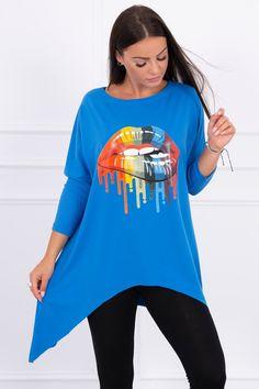 Moderná tunika oversize s dúhovou potlačou Modeling, Graphic Sweatshirt, Sweatshirts, Sweaters, Tops, Women, Fashion, Tunic, Moda