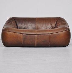 Gerard Van Den Berg; Leather 'Ringo' Sofa for Montis, 1970s.   japanesetrash.com