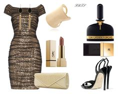Black & Gold Affair by flybeyondtheskies on Polyvore featuring Lauren Ralph Lauren, Giuseppe Zanotti, Mascara, Yves Saint Laurent and Tom Ford