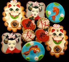 Fortune Cat, Geisha, Koi Pond, and Chinese Lantern Cookies by Compassionate Cake