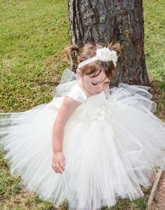 Ivory Flower Girl Tutu Dress with Satin Straps by PoshPixieTutu, $69.99