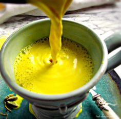Golden Milk, a traditional medicinal from the Ayurvedic kitchen, with turmeric and boiled milk. Can be made with almond or coconut milk.
