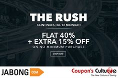 ‪#‎Jabong‬ ‪#‎Coupons‬ Flat 40% + Extra 15% Off on No Minimum Purchase Value. ‪#‎Shop‬ Now