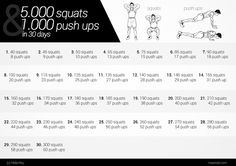 Try this 30-day challenge: squats and push-ups