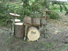 Great reuse of wood to make a fake drum set ! love this !…