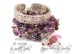 Amethyst & crystal quartz look great layered with Czech vintage glass heart on a Czech glass stackable bangle. Let's not forget the magnificent Judith Ripka bangle.
