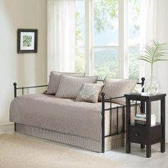 Bring a sense of subtle elegance to your room with the Quebec 6 Piece Daybed Set by Madison Park . This elegantly quilted daybed collection transforms. Daybed Cover Sets, Daybed Sets, Daybed Bedding, Bedding Sets, Quilt Bedding, Duvet Covers, Best Daybeds, Full Size Daybed, Bed Spreads