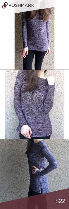 """ELLEN TRACY Marled Knit Tunic Sweater Purple & white marled knit tunic-length sweater. Cute side seaming detail. Slight high-low. Front Length: 26"""", Back Length: 28.5"""", Pit to Pit: 17"""". ✨OFFERS WELCOME✨ Ellen Tracy Sweaters"""
