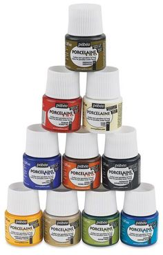 Save On Discount Pebeo Porcelaine 150 Paint, Set of 10 & More Colors at… Mosaic Glass, Fused Glass, Glass Art, Bottle Art, Bottle Crafts, Pebeo Porcelaine 150, Pebeo Paint, Safe Glass, Hand Painted Wine Glasses