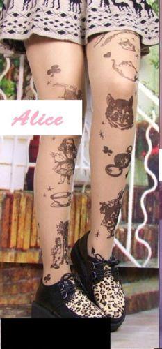 Tattoo-Strumpfhose-Katze-Alice-Steampunk-Gothic-Rockabilly-Fantasy-Tights-SC1