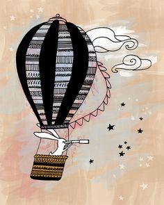 Nursery Art Print - Babys Kids Room Wall Decor - Sky Clouds Stars Rabbit Hare Bunny Hot Air Balloon - Unisex Boy Girl Baby Shower Gift