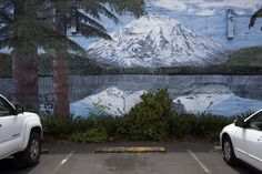 Mt St Helens  Painted on a building in Castle Rock WA