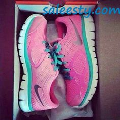 Love these!! These are two perfect colors together!     cheap nike shoes, wholesale nike frees, #womens #running #shoes, discount nikes, tiffany blue nikes, hot punch nike frees, nike air max,nike roshe run