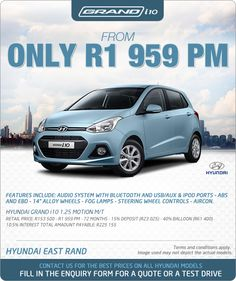 """Buy a new Hyundai Grand i10 Motion and pay R1 959 pm. Features include: Bluetooth, USB, AUX, steering wheel controls, aircon and 14"""" alloy wheels.  Retail price: R153 500 Term: 72 months Instalment: R1 959 pm Interest: 10.5%  Deposit: 15% (R23 025) Balloon: 40% (R61 400) Total amount payable: R225 155"""