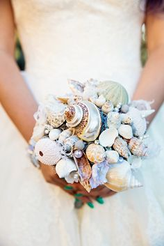 Seashell bridal bouquet inspired by The Little Mermaid