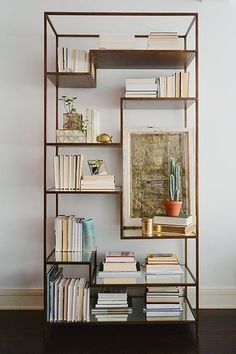 .These minimal metal bookcases can be styled in almost any way possible. A great addition to a living space.