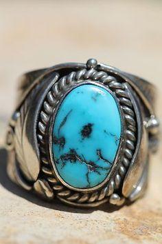 Signed Vintage Navajo Sterling Silver Turquoise Men's Ring by Edward Gruber | eBay