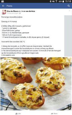 Romerige mosselbroodjies Braai Recipes, Appetizer Recipes, Snack Recipes, Cooking Recipes, Kos, South African Recipes, Savory Snacks, Mini Foods, Pastry Recipes