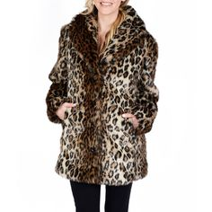 Excelled Faux-Fur Short Jacket ($175) ❤ liked on Polyvore featuring outerwear, jackets, leopard jacket, short faux fur jacket, leopard print jacket, fake fur jacket and faux fur jacket