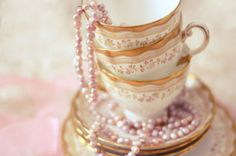 Pearls on Antique Tea Cups