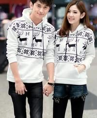 White Cute Unisex Winter Snowflakes and Deers Pattern Kangaroo Pocket Hoodies