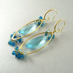 Blue Quartz and Apatite Gold Dangle Earrings by SurfAndSand