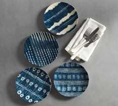 The shibori designs of this collection are inspired by the ancient Japanese tie-dying technique used to produce fine and subtle hue variations in textiles. Each salad plate features a different pattern for added visual interest in a table setting.