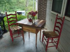 Table and chairs made from old fence board.