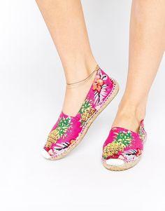 Image 1 ofOAS Pinapple Flower Espadrille Slip On Flat Shoes