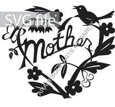 This sweet heart for Mothers Day features a bird singing, a butterfly, and flowers and leaves and berries! I designed this to be less Art Template, Templates, Paper Cutting, My Design, Berries, Singing, Butterfly, Leaves, Bird