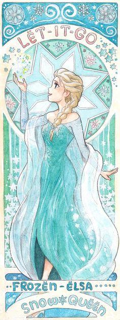 「ミュシャ風 アナと雪の女王」/「瀧水たらこ」の漫画 [pixiv]